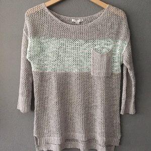 American Eagle Light Crochet Knit Striped Sweater